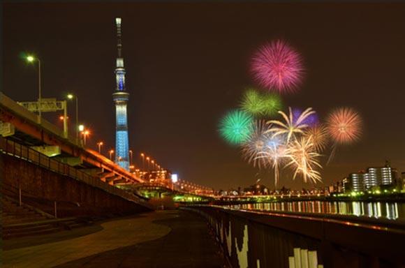 隅田川花火大会 白髭橋周辺