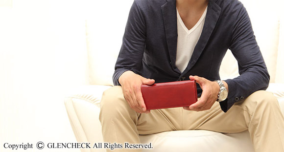 glencheck 革財布